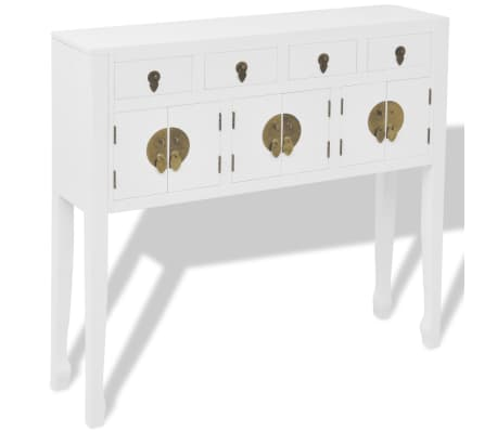vidaXL Aparador de estilo chino de madera maciza blanco[2/8]