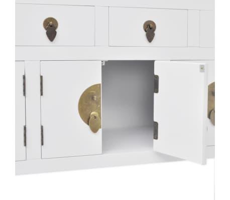 vidaXL Aparador de estilo chino de madera maciza blanco[6/8]