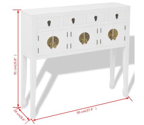 vidaXL Aparador de estilo chino de madera maciza blanco[8/8]