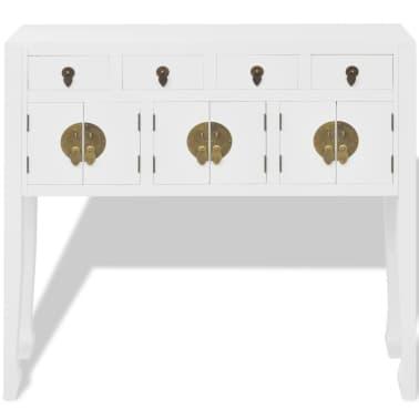 vidaXL Aparador de estilo chino de madera maciza blanco[3/8]