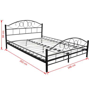 Vidaxl Rama łóżka Czarna Metalowa 160x200 Cm Sklep