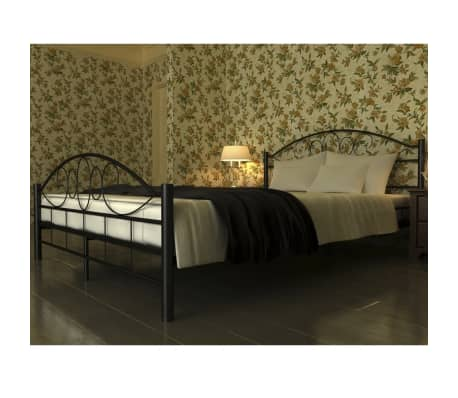 vidaxl cadre de lit double 160 x 200 cm noir m tal. Black Bedroom Furniture Sets. Home Design Ideas