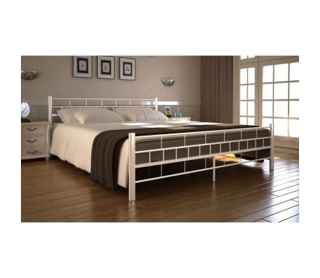 vidaxl cadre de lit double 160 x 200 cm blanc m tal. Black Bedroom Furniture Sets. Home Design Ideas
