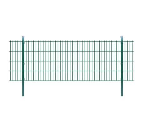 Détails sur vidaXL Panneaux Clôture Poteaux 2D Jardin Vert Barrière  Grillage Multi-taille