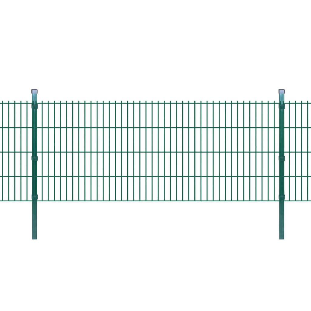 vidaXL 2D Zahradní plotové dílce a sloupky 2008x830 mm 44 m zelené