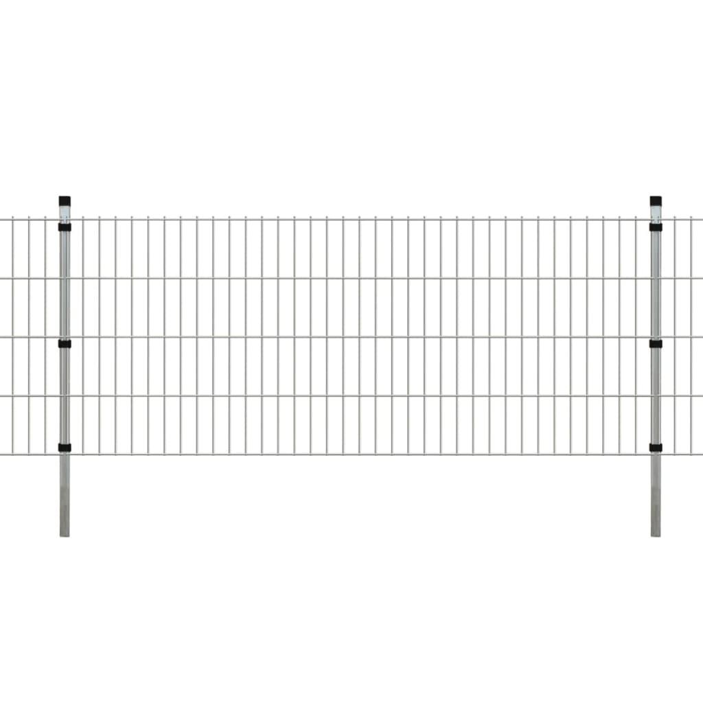 vidaXL 2D Zahradní plotové dílce a sloupky 2008x830 mm 48 m stříbrné