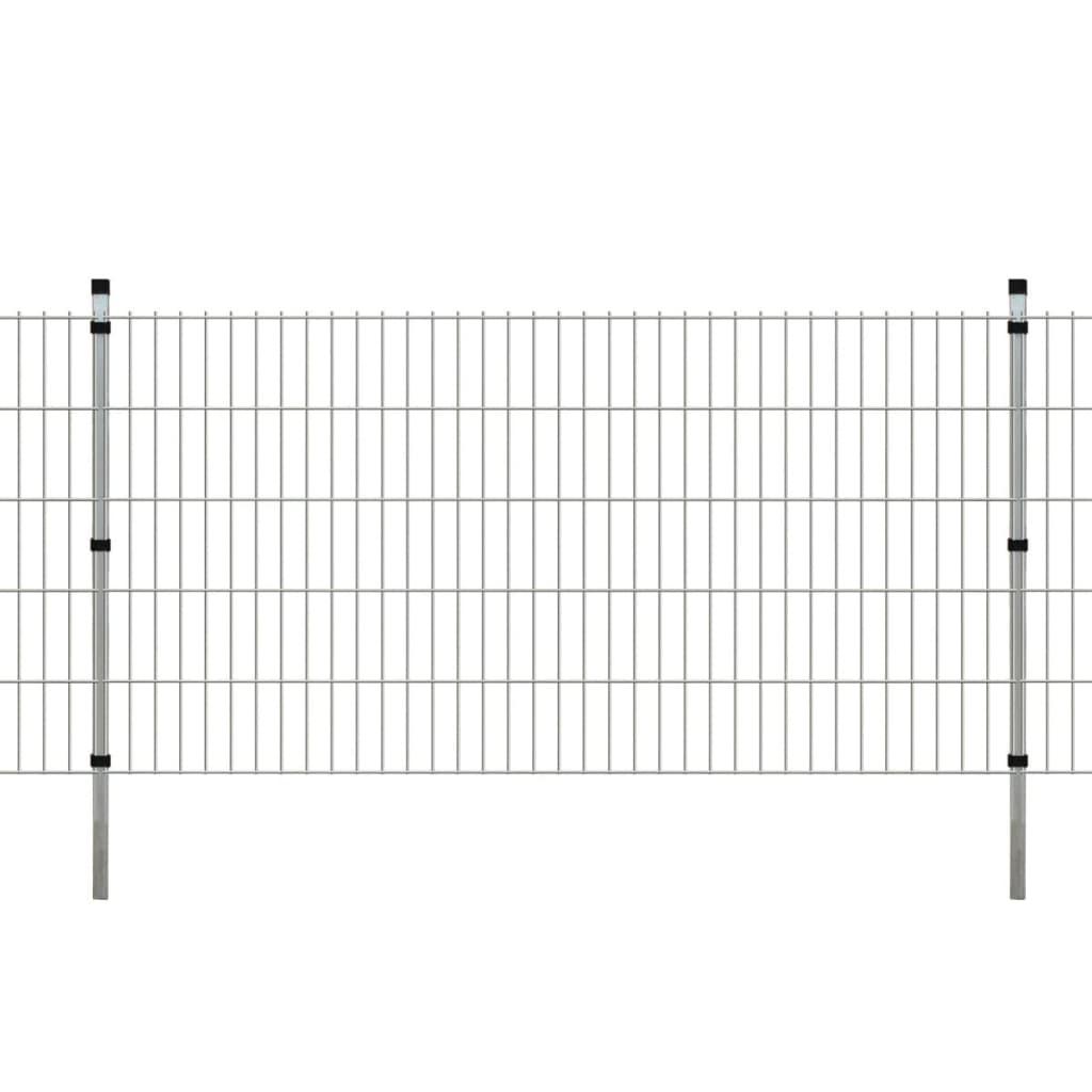 vidaXL Dubbelstaafmatten en palen 2008x1030 mm 2 m zilverkleurig