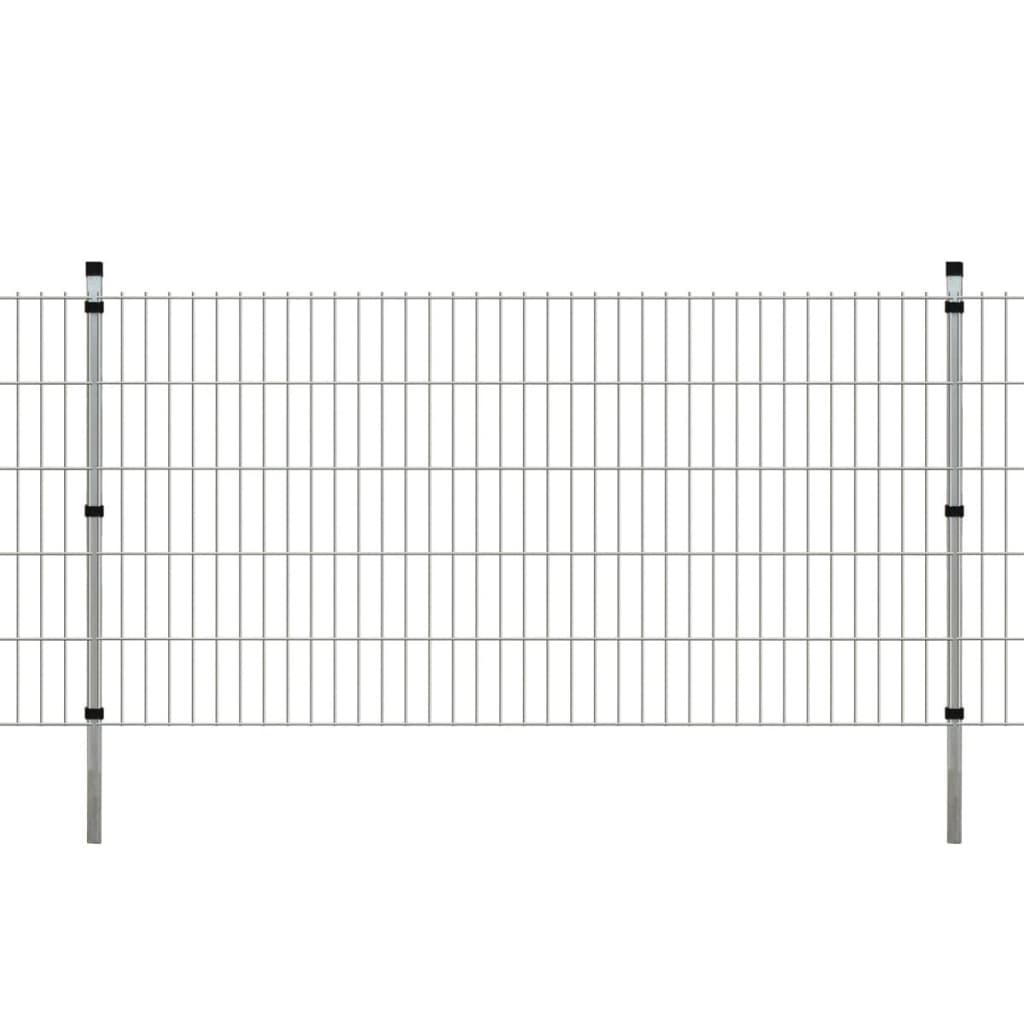 vidaXL Dubbelstaafmatten en palen 2008x1030 mm 8 m zilverkleurig