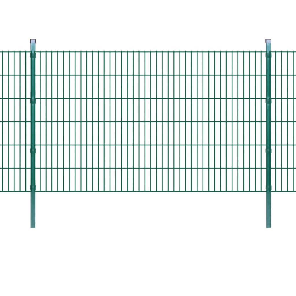 vidaXL 2D Zahradní plotové dílce a sloupky 2008x1230 mm 24 m zelené