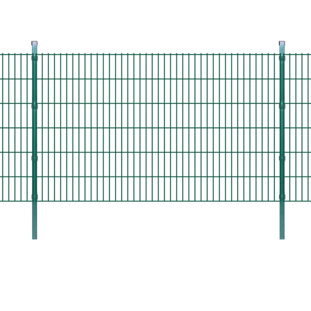 vidaXL 2D Zahradní plotové dílce a sloupky 2008x1230 mm 32 m zelené
