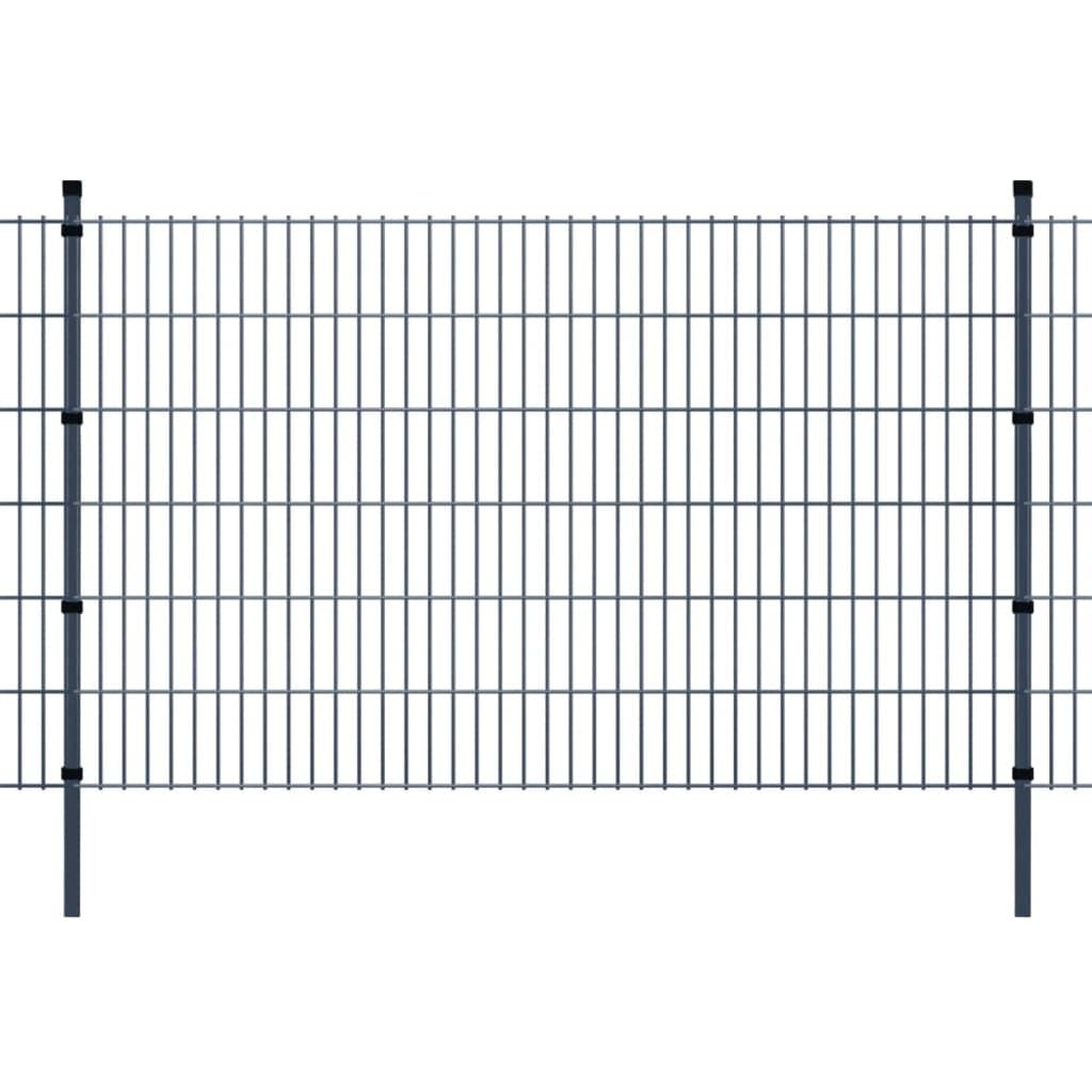 vidaXL 2D zahradní plotové dílce a sloupky 2008x1230 mm, 50 m, šedé