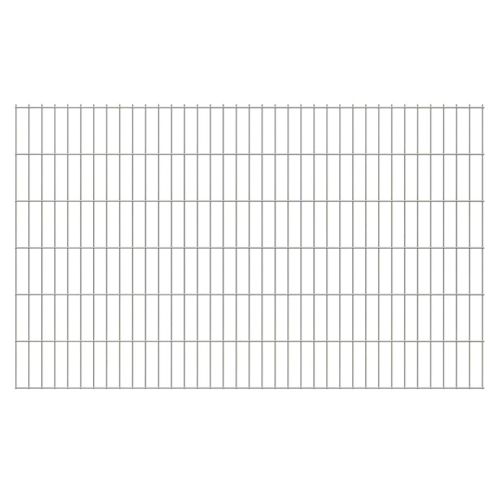 vidaXL Dubbelstaafmatten en palen 2008x1230 mm 6 m zilverkleurig