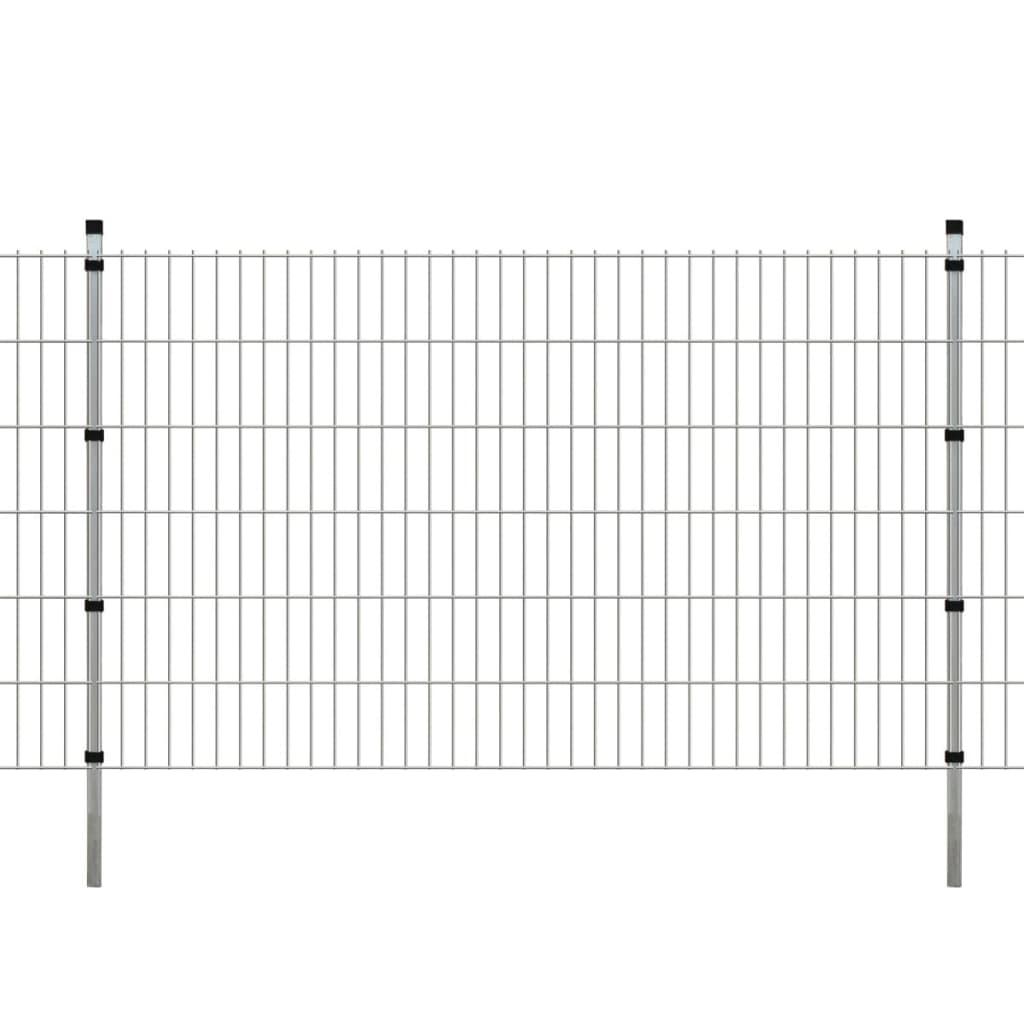 vidaXL 2D Zahradní plotové dílce a sloupky 2008x1230 mm 14 m stříbrné