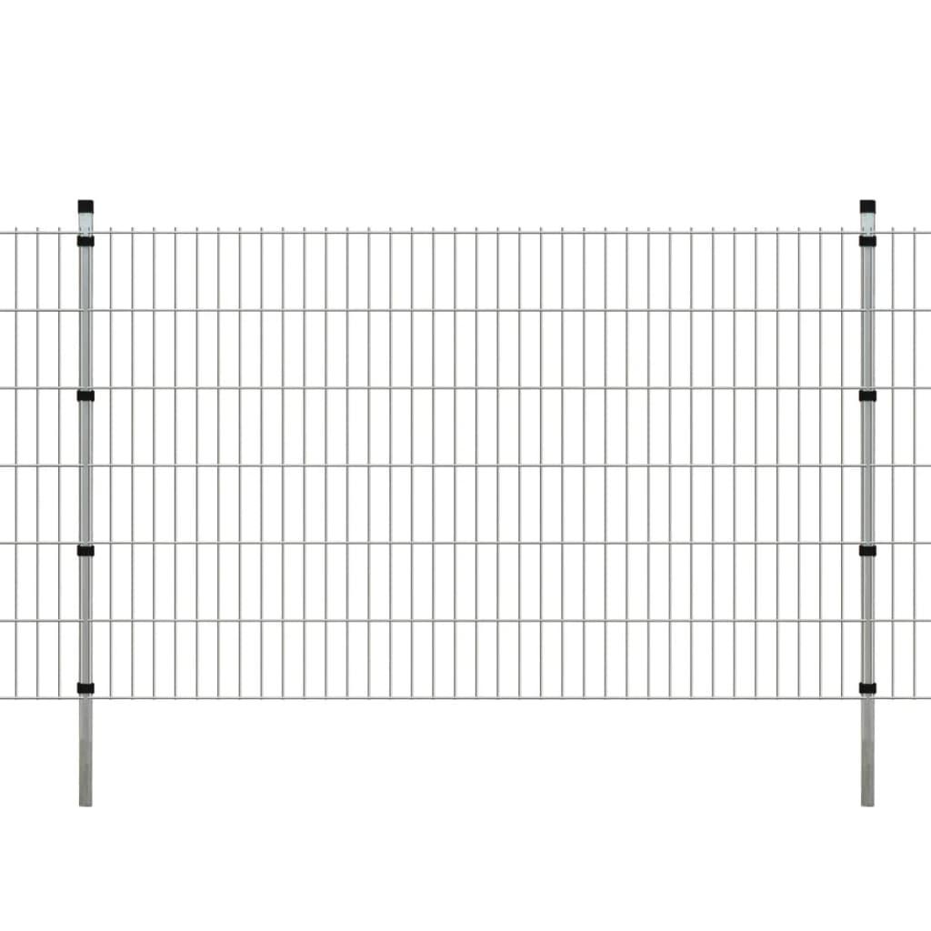 vidaXL 2D Zahradní plotové dílce a sloupky 2008x1230 mm 38 m stříbrné