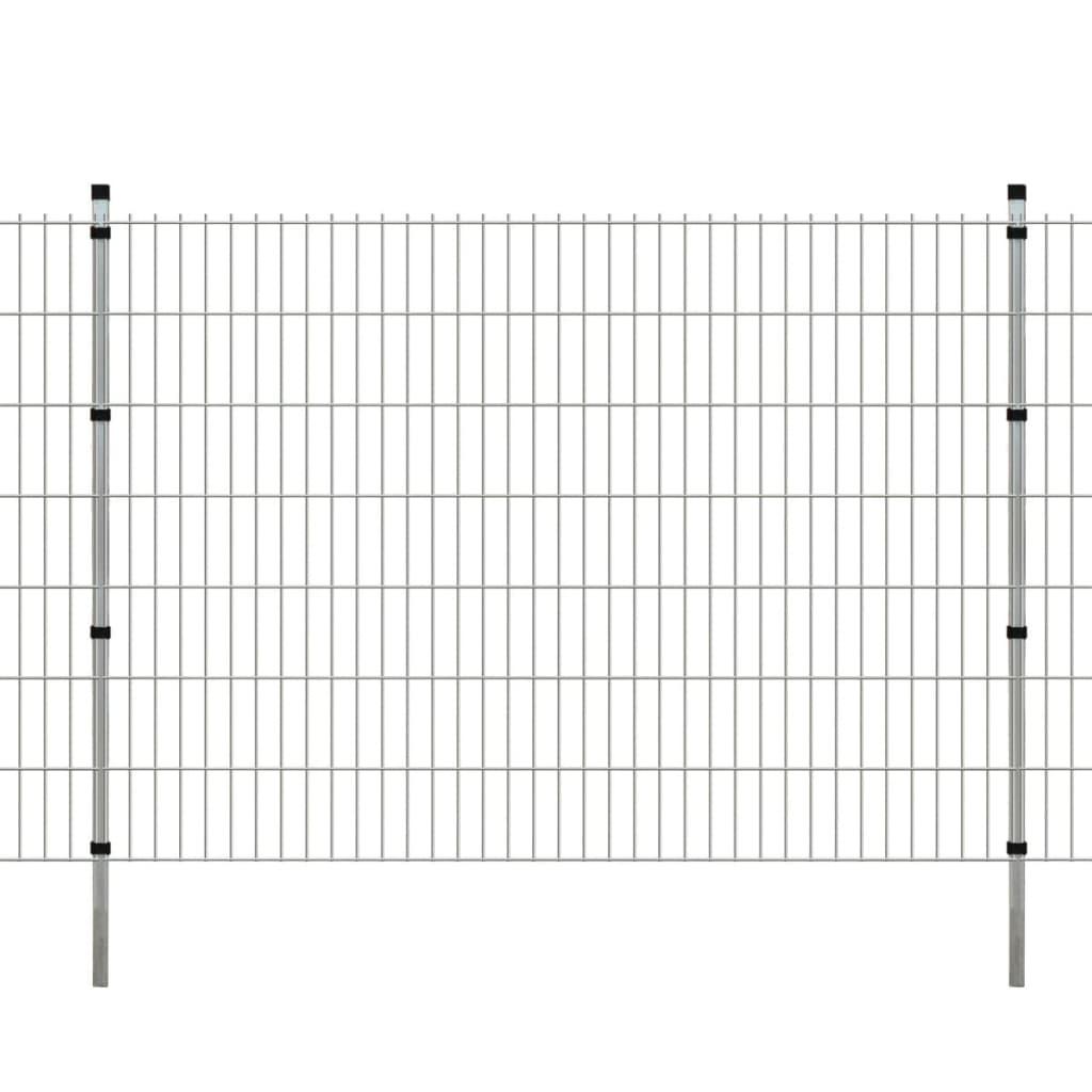 vidaXL 2D zahradní plotové dílce a sloupky 2008x1430 mm, 30 m, stříbrné