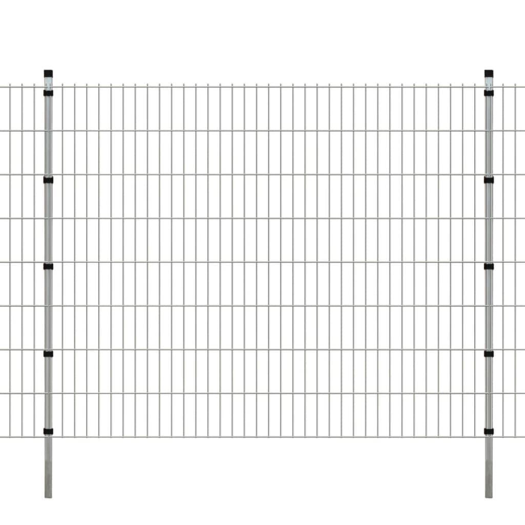 vidaXL 2D Zahradní plotové dílce a sloupky 2008x1630 mm 50 m stříbrné