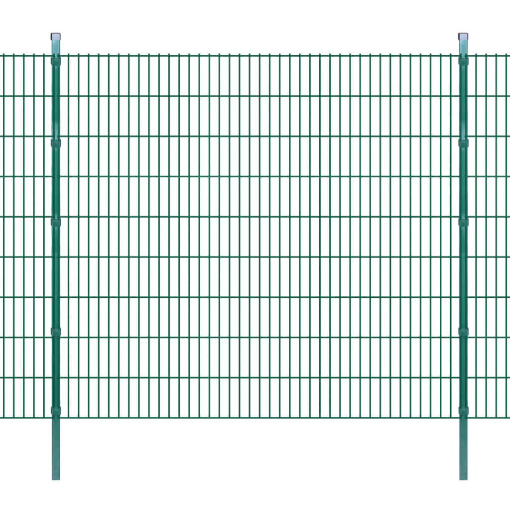 vidaXL Panouri de gard 2D cu stâlpi 2008x1830 mm 20 m, Verde imagine vidaxl.ro