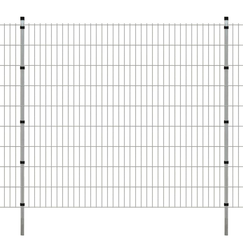 vidaXL 2D zahradní plotové dílce a sloupky 2008x1830 mm 8 m stříbrné