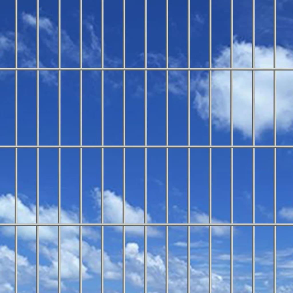 vidaXL Dubbelstaafmatten en palen 2008x1830 mm 10 m zilverkleurig
