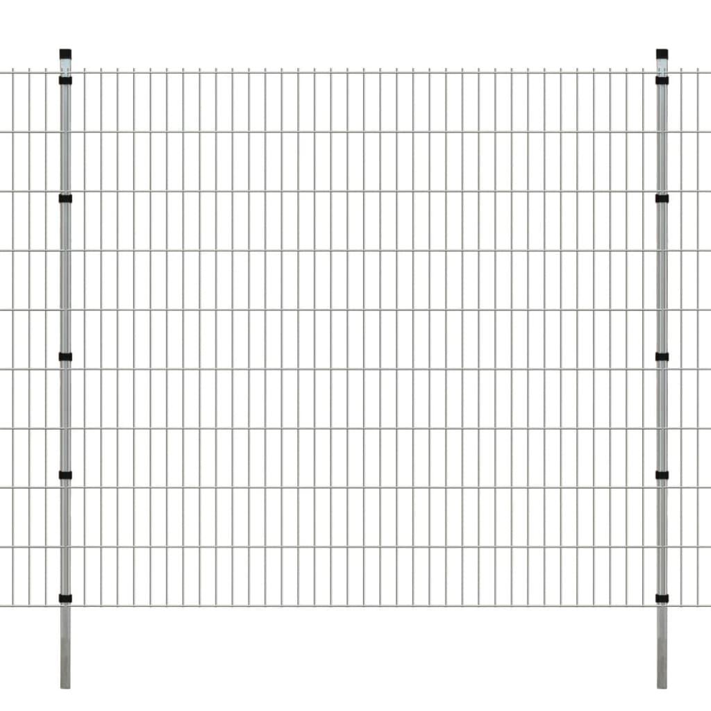 vidaXL 2D zahradní plotové dílce a sloupky 2008x1830 mm 46 m stříbrné