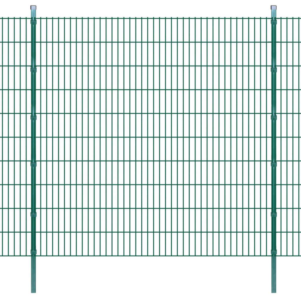 vidaXL Panouri de gard 2D cu stâlpi 2008x2030 mm 10 m, Verde poza 2021 vidaXL