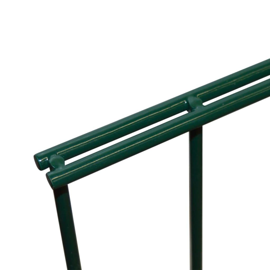 vidaXL Dubbelstaafmatten en palen 2008x2030 mm 20 m groen