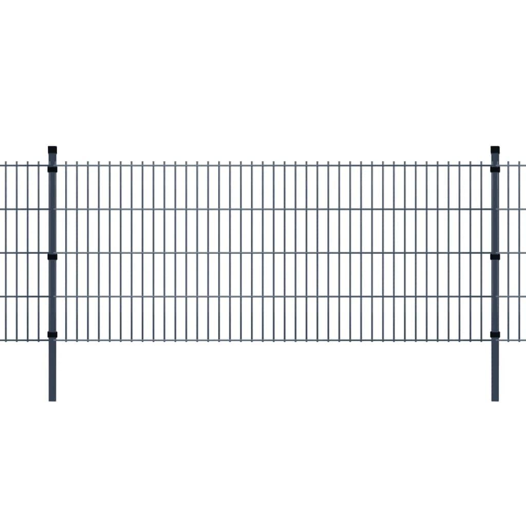 vidaXL 2D zahradní plotové dílce a sloupky 2008x2030 mm, 6 m, šedé