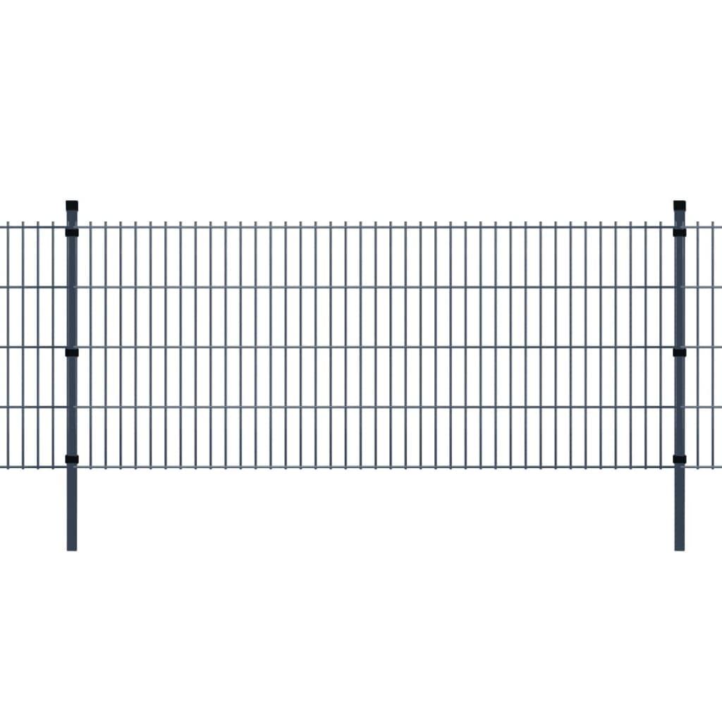 vidaXL 2D zahradní plotové dílce a sloupky 2008x2030 mm, 20 m, šedé