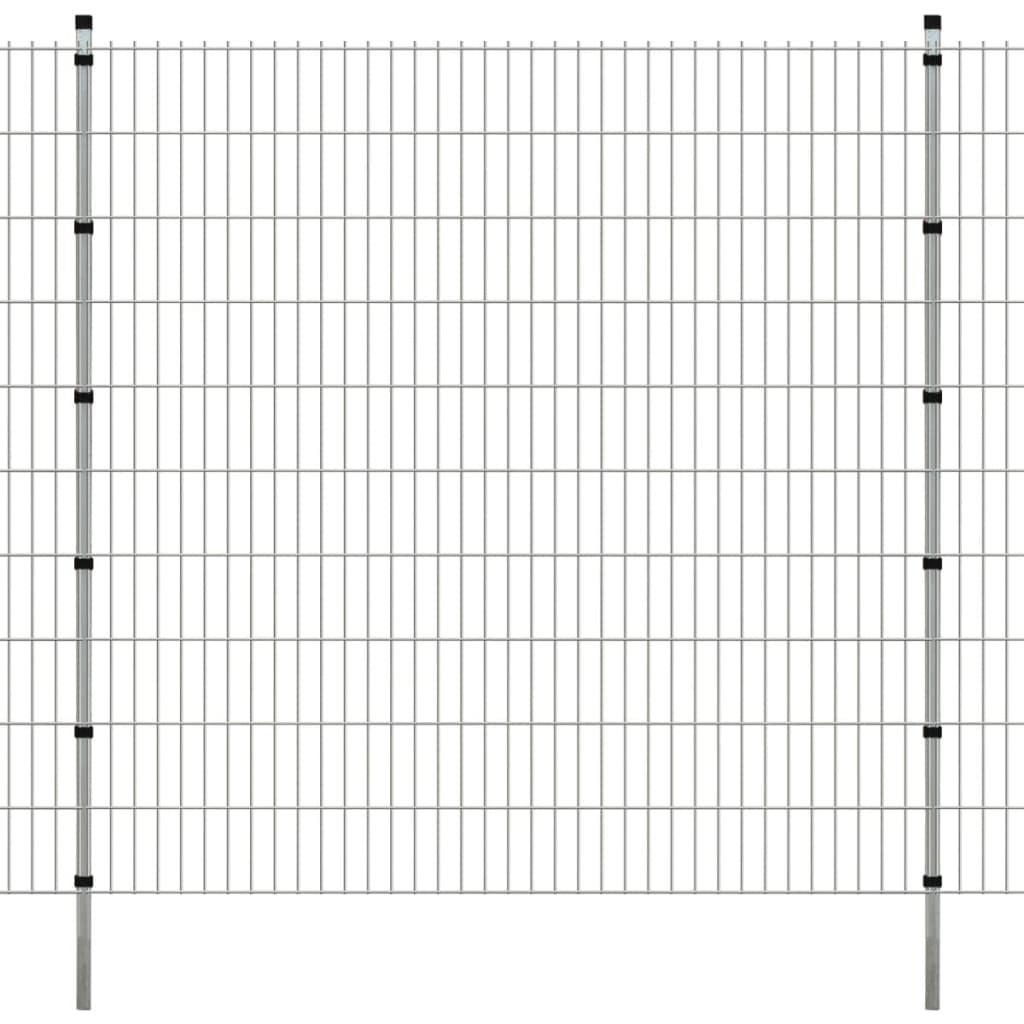 vidaXL Dubbelstaafmatten en palen 2008x2030 mm 2 m zilverkleurig
