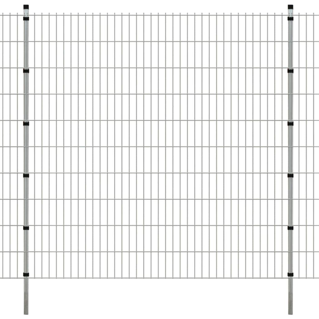 vidaXL Dubbelstaafmatten en palen 2008x2030 mm 16 m zilverkleurig