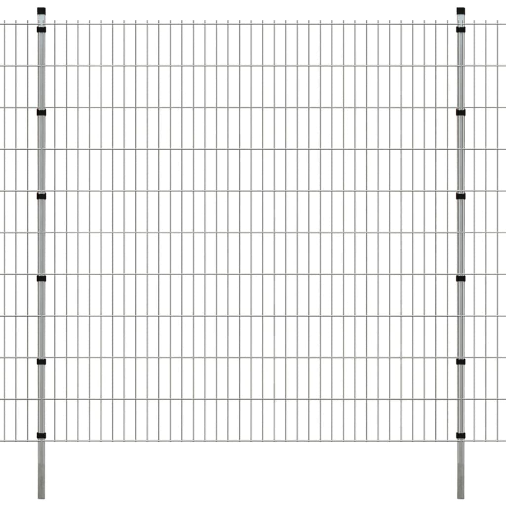 vidaXL 2D zahradní plotové dílce a sloupky 2008x2030 mm, 20 m, stříbrné