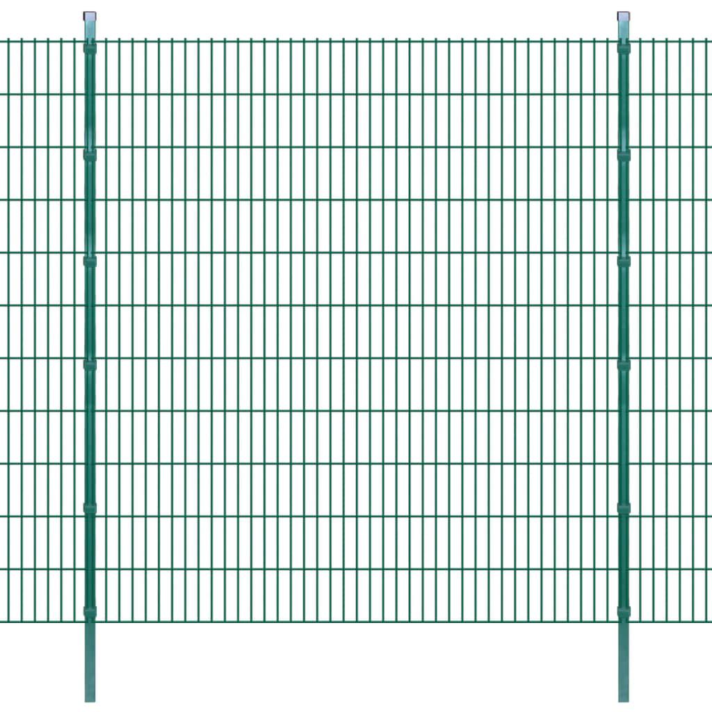 vidaXL Dubbelstaafmatten en palen 2008x2230 mm 2 m groen