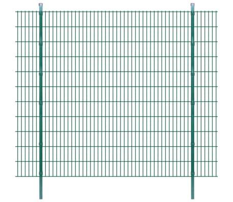 vidaXL 2D Stängselpaneler med stolpar 2008x2230 mm 2 m grön