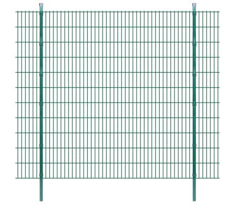 vidaXL Dubbelstaafmatten en palen 2008x2230 mm 4 m groen