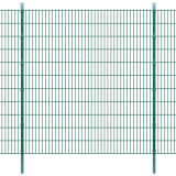 vidaXL 2D Stängselpaneler med stolpar 2008x2230 mm 4 m grön