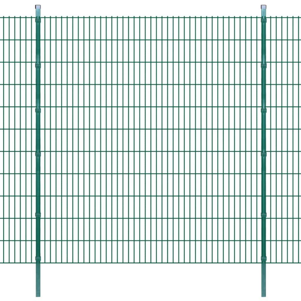 vidaXL Dubbelstaafmatten en palen 2008x2230 mm 22 m groen