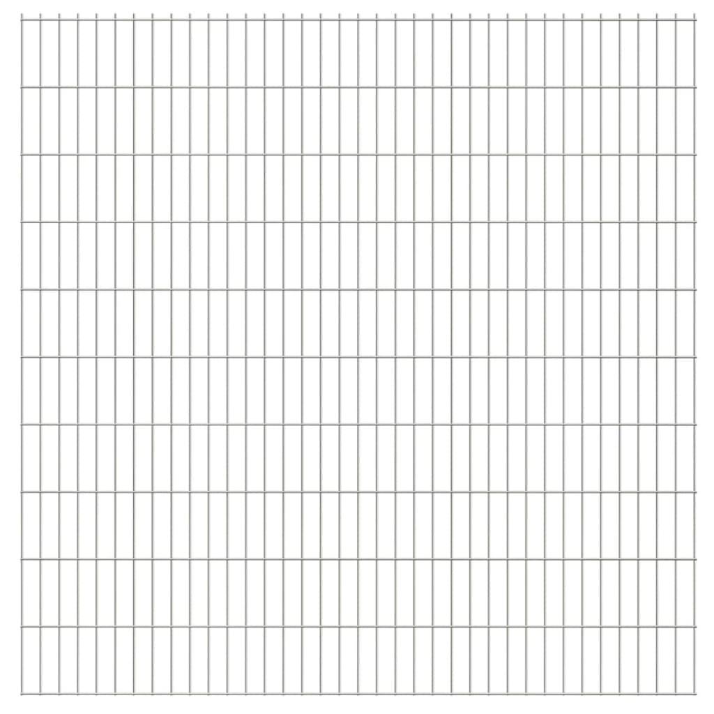vidaXL Dubbelstaafmatten 2,008x2,03 m 14 m (totale lengte) zilverkleur
