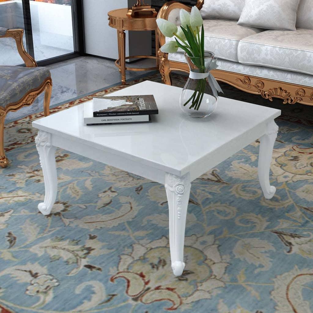 vidaXL Stolik do kawy, biały, wysoki połysk 80x80x42 cm
