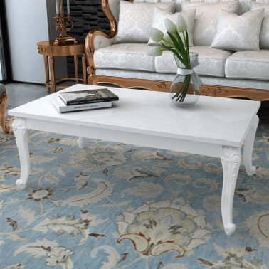 vidaXL Kavos staliukas, 120x70x42 cm, labai blizgus, baltas[1/5]