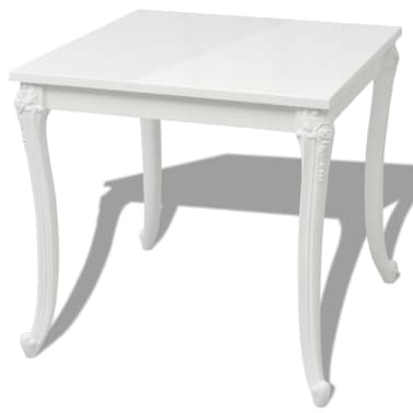 """vidaXL Dining Table 31.5""""x31.5""""x30"""" High Gloss White[2/5]"""