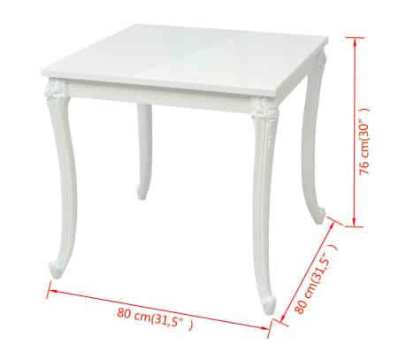 """vidaXL Dining Table 31.5""""x31.5""""x30"""" High Gloss White[5/5]"""