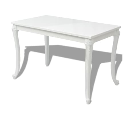 vidaXL Dining Table 116x66x76 cm High Gloss White