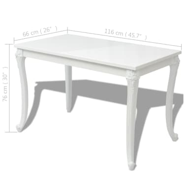 "vidaXL Dining Table 45.7""x26""x30"" High Gloss White[5/5]"