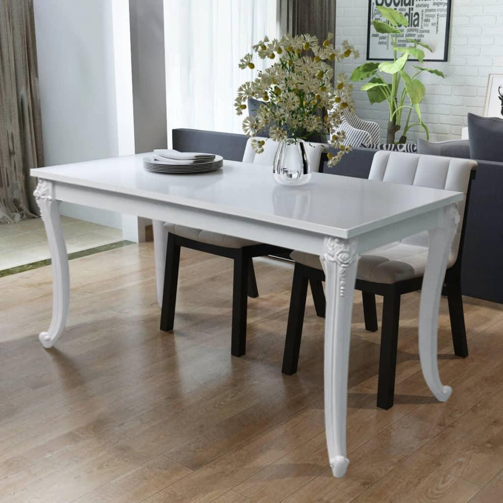 vidaXL Jídelní stůl 120x70x76 cm vysoký lesk bílý
