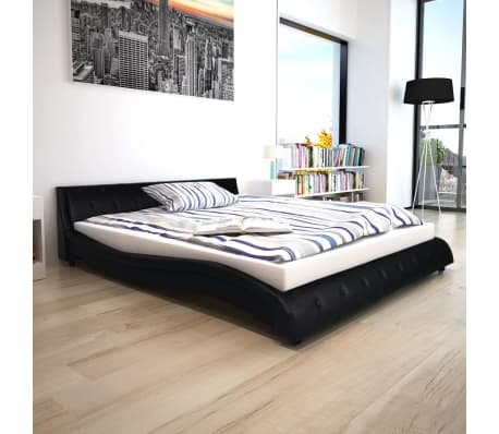 acheter vidaxl cadre de lit 160 x 200 cm cuir synth tique noir pas cher. Black Bedroom Furniture Sets. Home Design Ideas