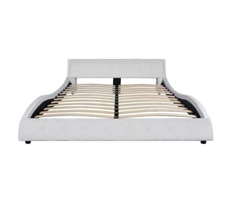 vidaXL Cadre de lit Cuir synthétique 160 x 200 cm Blanc[3/7]