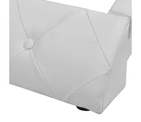 vidaXL Cadru de pat, alb, 160 x 200 cm, piele artificială[6/7]