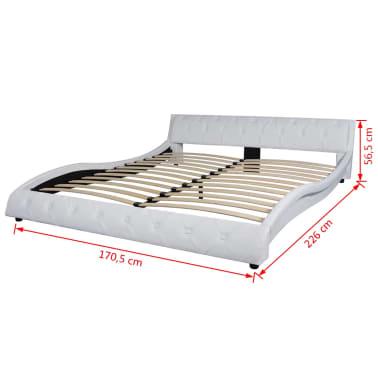 vidaXL Cadre de lit Cuir synthétique 160 x 200 cm Blanc[7/7]