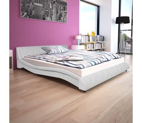 vidaXL Cadre de lit Cuir synthétique 160 x 200 cm Blanc[1/7]