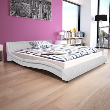 vidaXL Cadru de pat, alb, 160 x 200 cm, piele artificială[1/7]